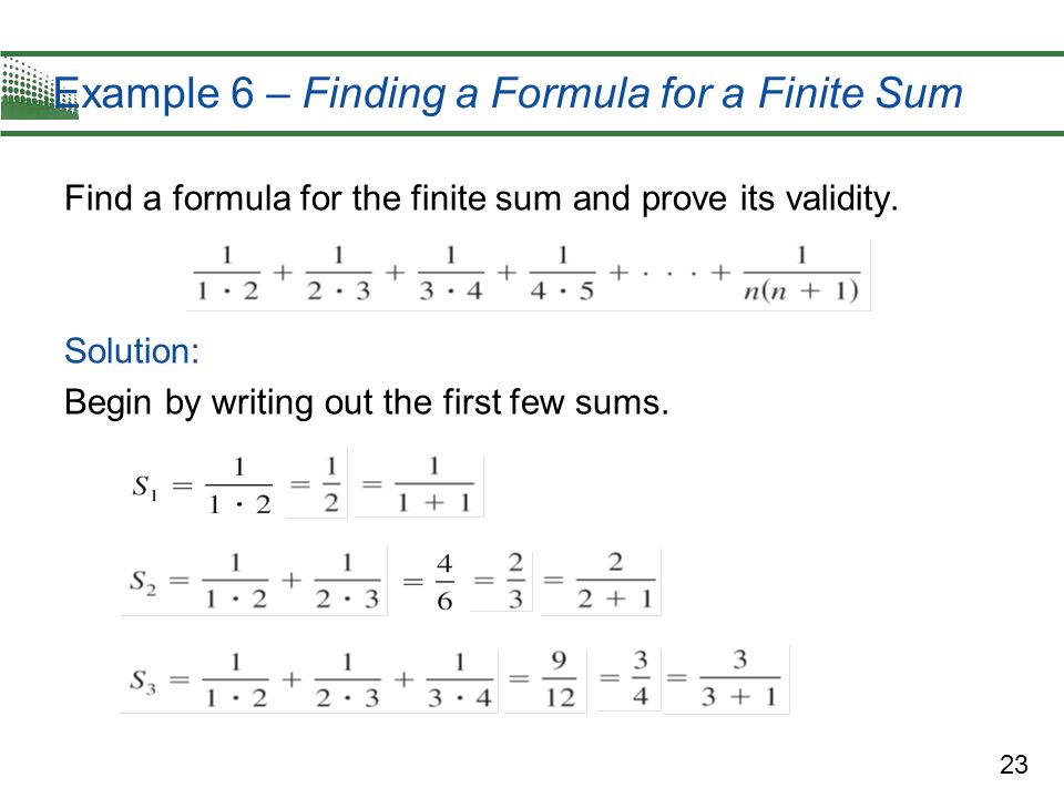Example 6 – Finding a Formula for a Finite Sum
