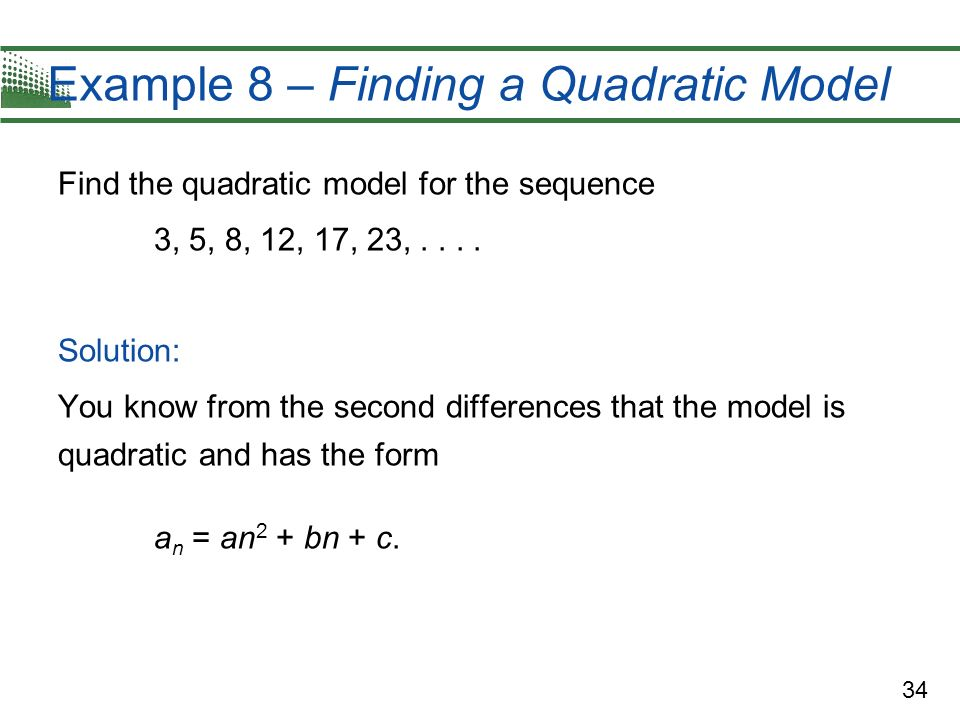 Example 8 – Finding a Quadratic Model