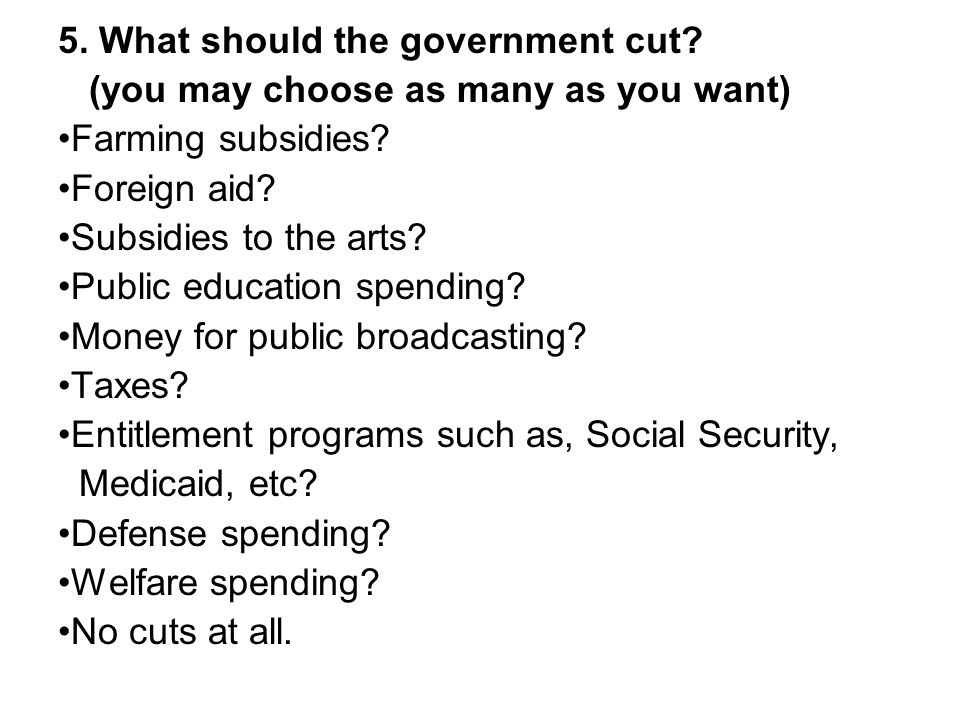 5. What should the government cut