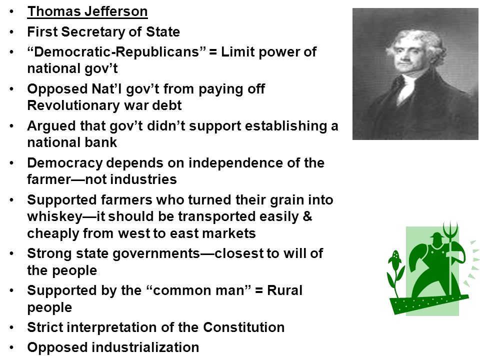 Thomas Jefferson First Secretary of State. Democratic-Republicans = Limit power of national gov't.