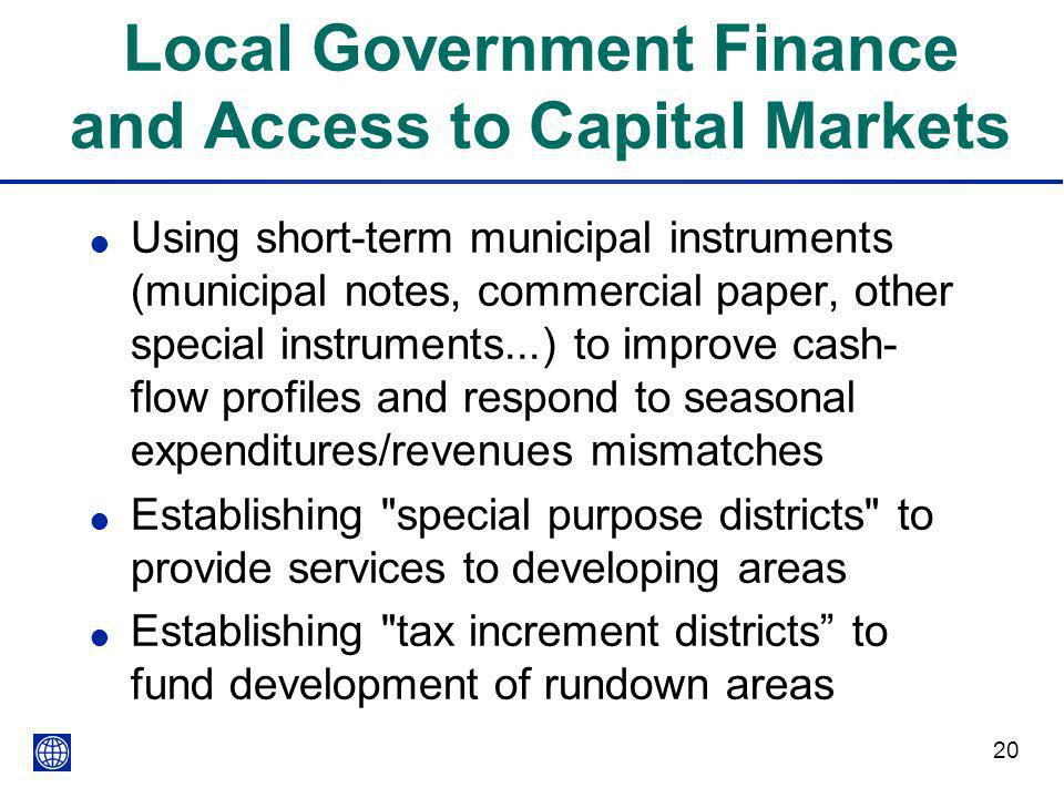 Local Government Finance and Access to Capital Markets
