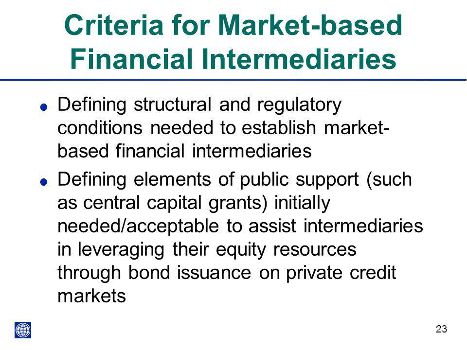 Criteria for Market-based Financial Intermediaries