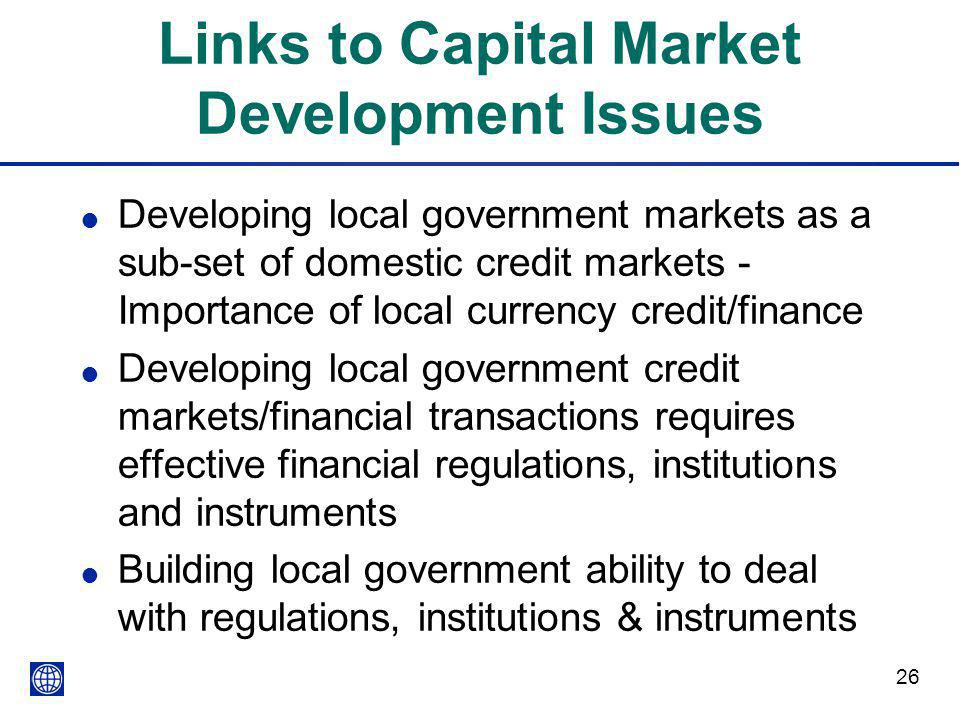 Links to Capital Market Development Issues