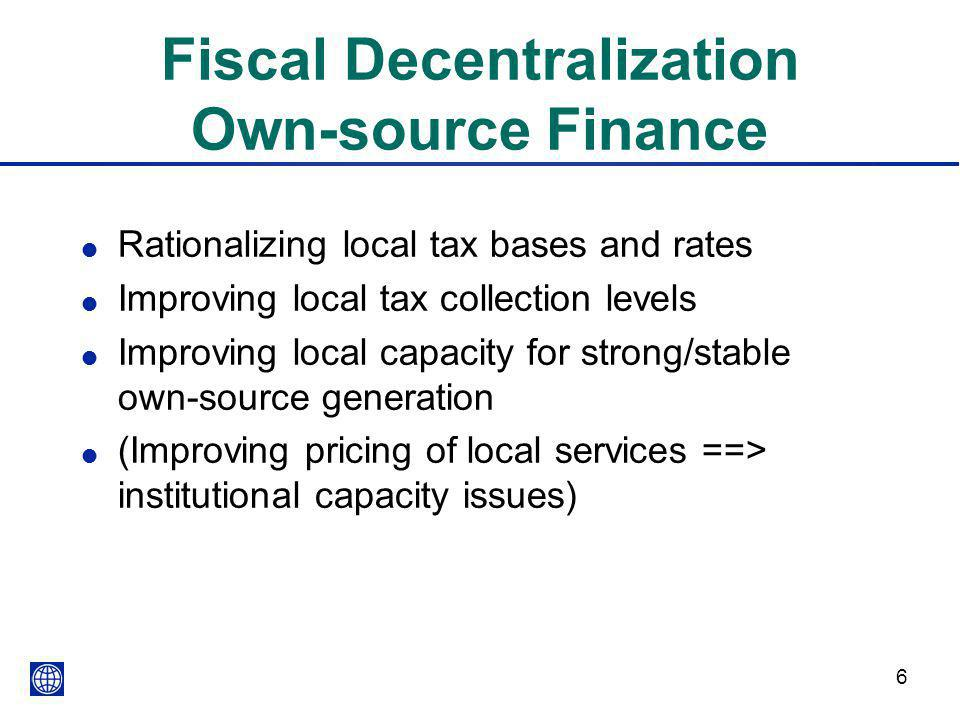Fiscal Decentralization Own-source Finance