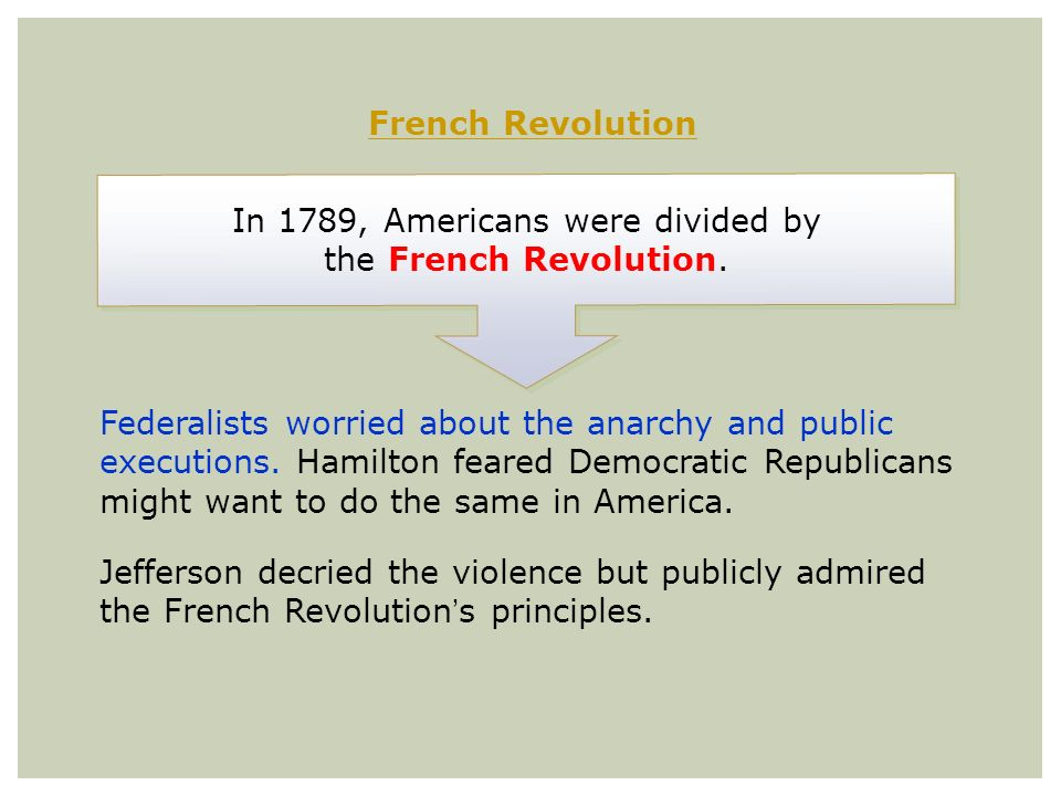 In 1789, Americans were divided by the French Revolution.
