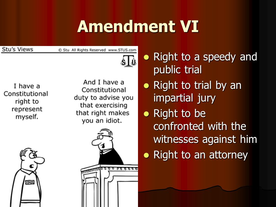 Amendment VI Right to a speedy and public trial