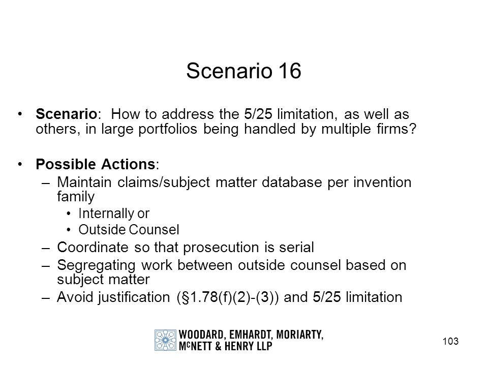 Scenario 16 Scenario: How to address the 5/25 limitation, as well as others, in large portfolios being handled by multiple firms