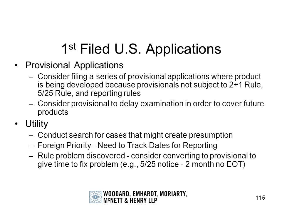 1st Filed U.S. Applications