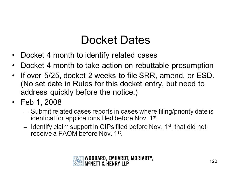 Docket Dates Docket 4 month to identify related cases