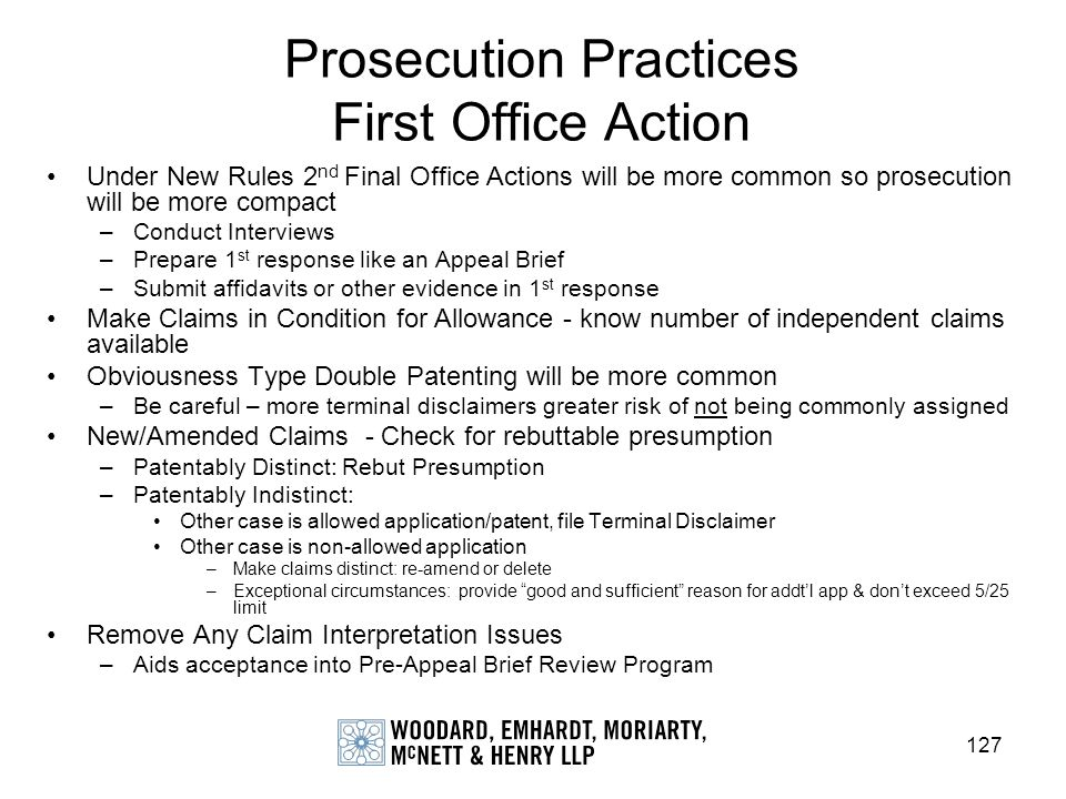 Prosecution Practices First Office Action
