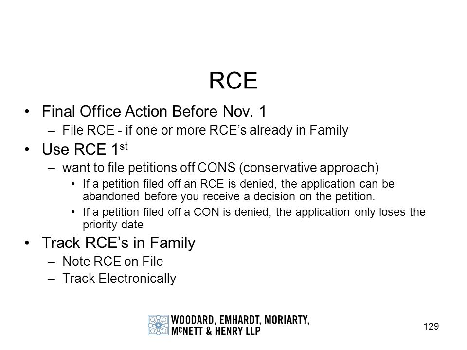 RCE Final Office Action Before Nov. 1 Use RCE 1st