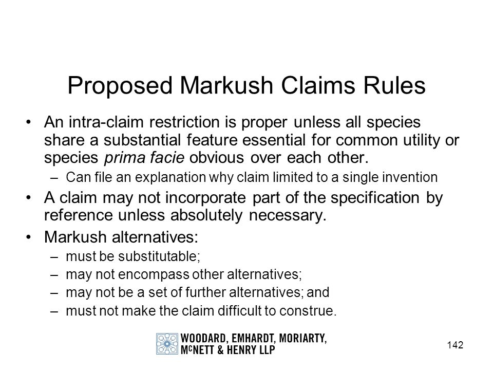 Proposed Markush Claims Rules