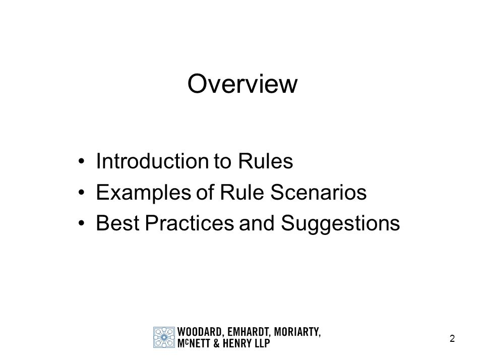Overview Introduction to Rules Examples of Rule Scenarios