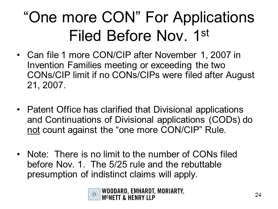 One more CON For Applications Filed Before Nov. 1st