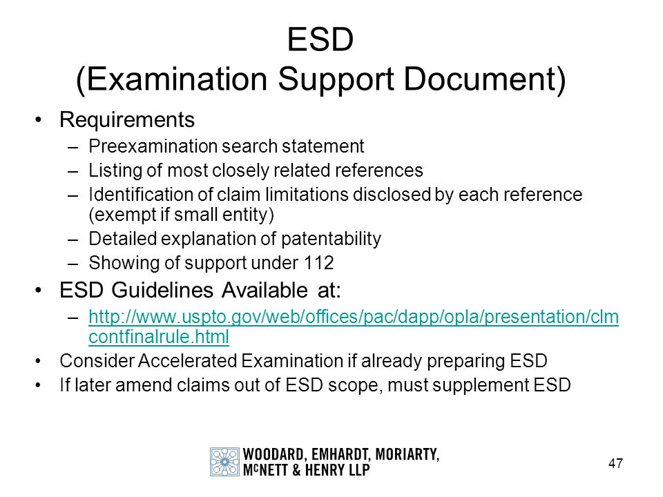 ESD (Examination Support Document)