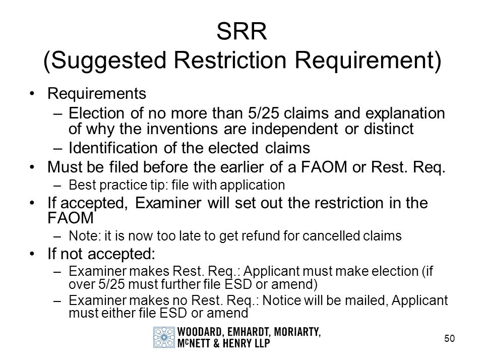 SRR (Suggested Restriction Requirement)