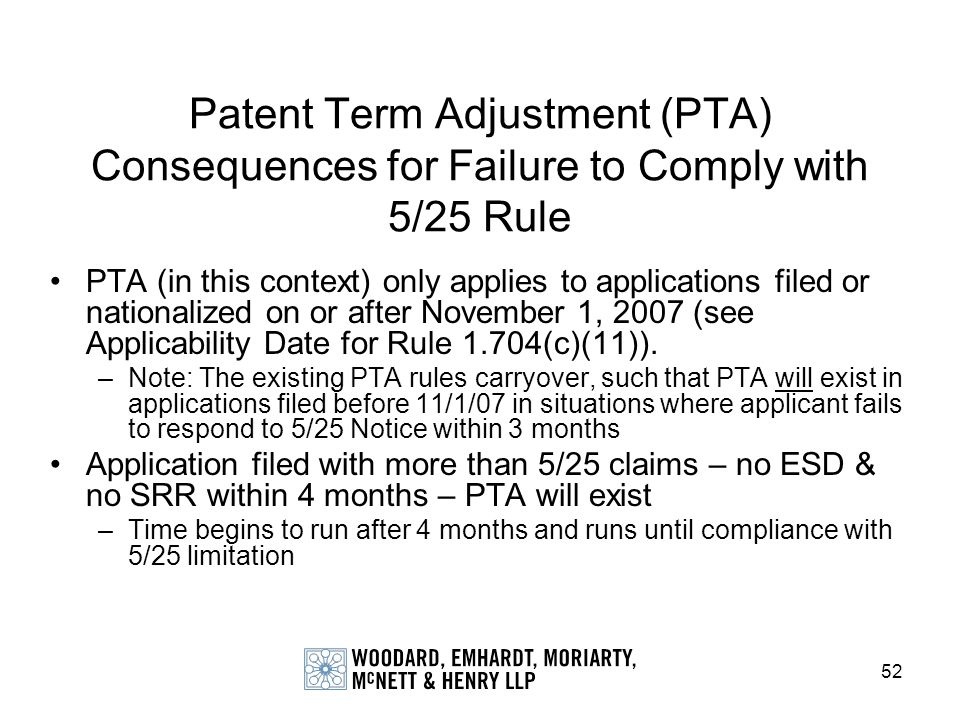 Patent Term Adjustment (PTA) Consequences for Failure to Comply with 5/25 Rule