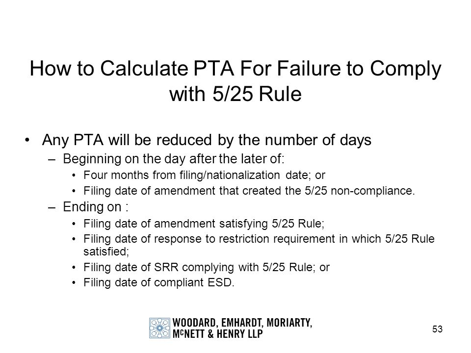How to Calculate PTA For Failure to Comply with 5/25 Rule