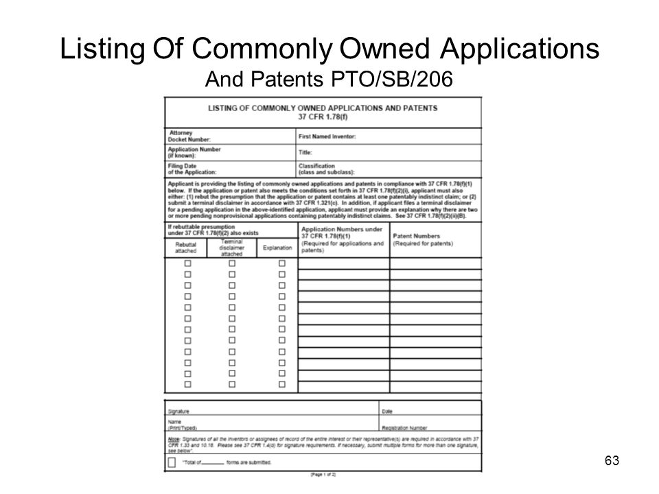 Listing Of Commonly Owned Applications And Patents PTO/SB/206