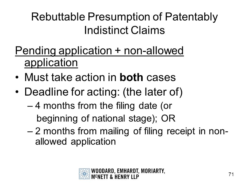 Rebuttable Presumption of Patentably Indistinct Claims