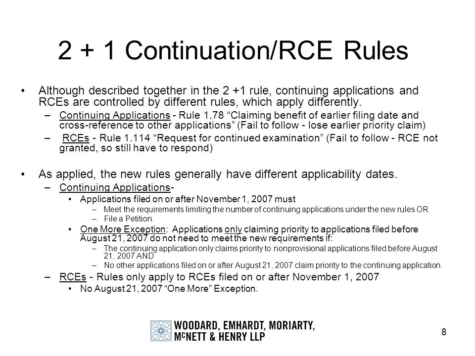 2 + 1 Continuation/RCE Rules