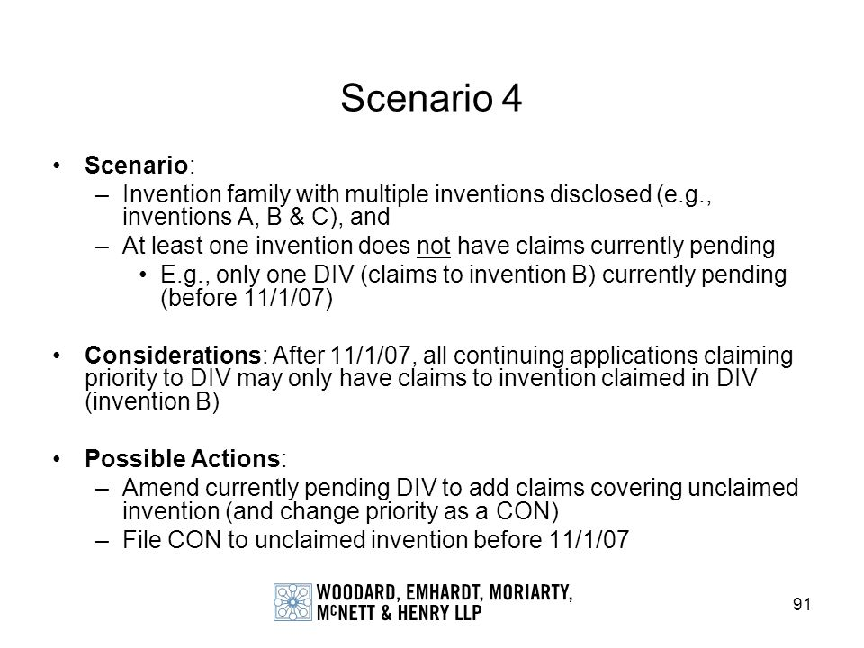 Scenario 4 Scenario: Invention family with multiple inventions disclosed (e.g., inventions A, B & C), and.
