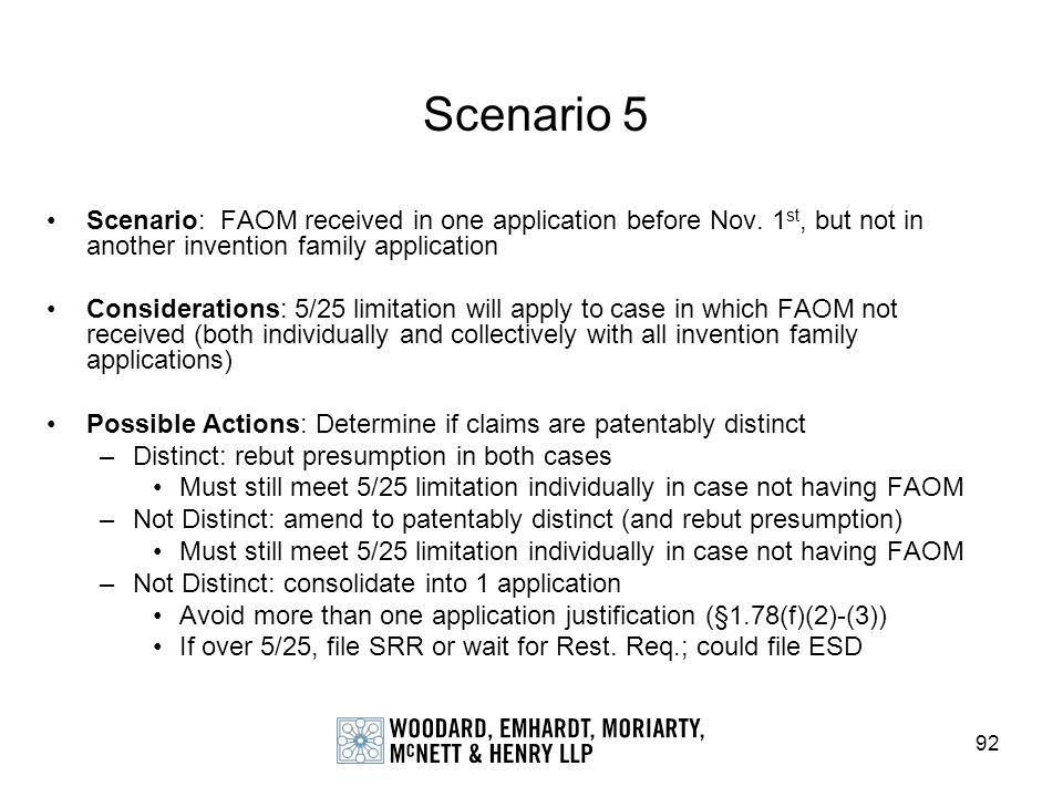 Scenario 5 Scenario: FAOM received in one application before Nov. 1st, but not in another invention family application.