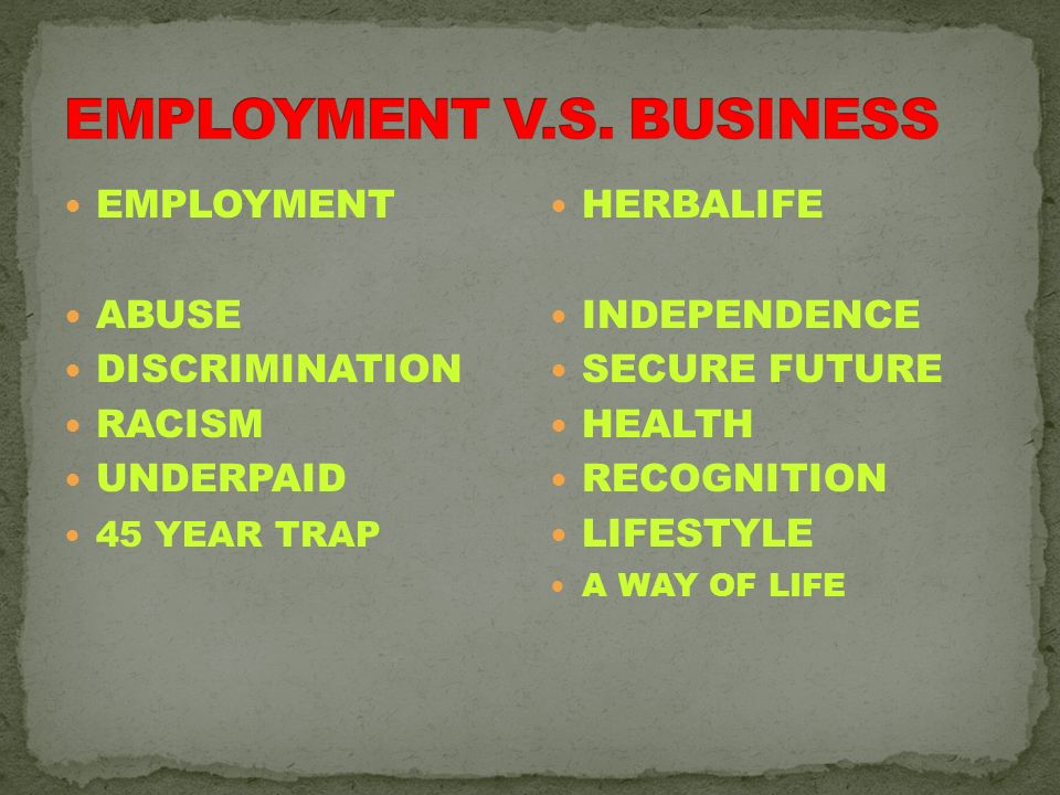 EMPLOYMENT V.S. BUSINESS