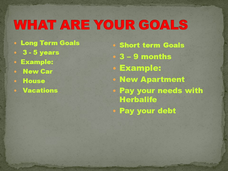 WHAT ARE YOUR GOALS Example: 3 – 9 months New Apartment