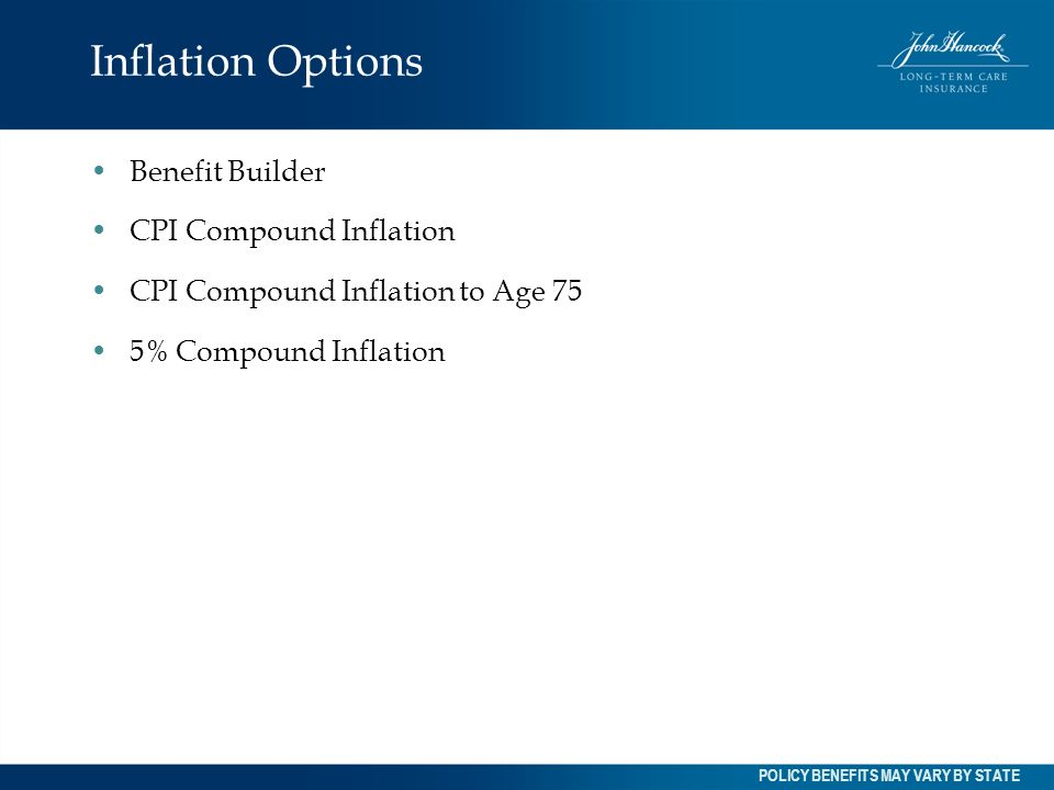 Inflation Options Benefit Builder CPI Compound Inflation