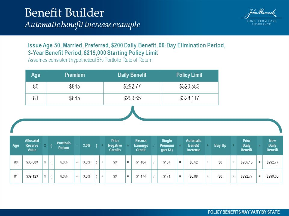 Benefit Builder Automatic benefit increase example