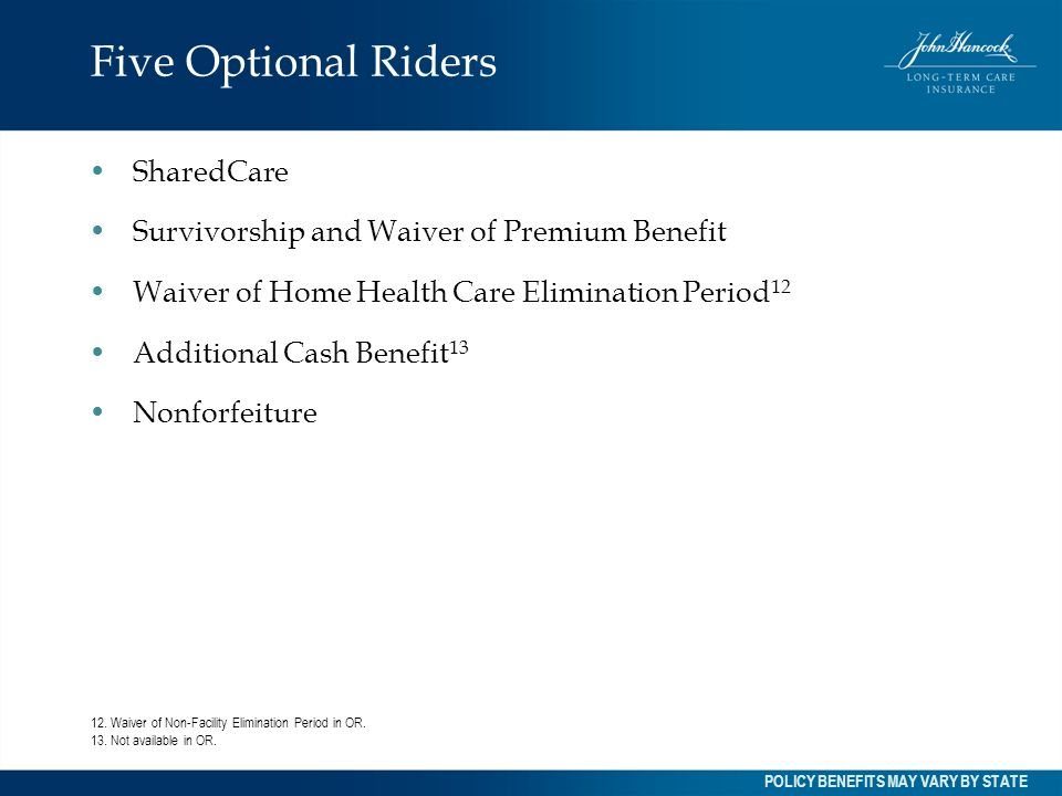 Five Optional Riders SharedCare