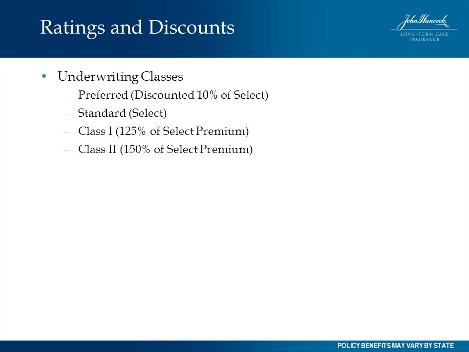Ratings and Discounts Underwriting Classes