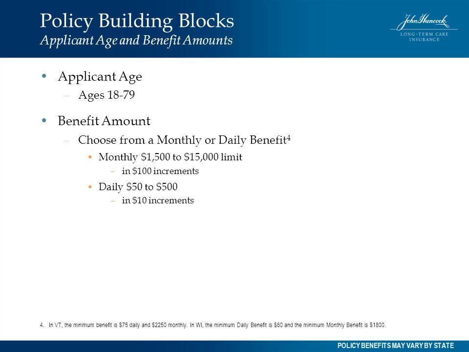 Policy Building Blocks Applicant Age and Benefit Amounts