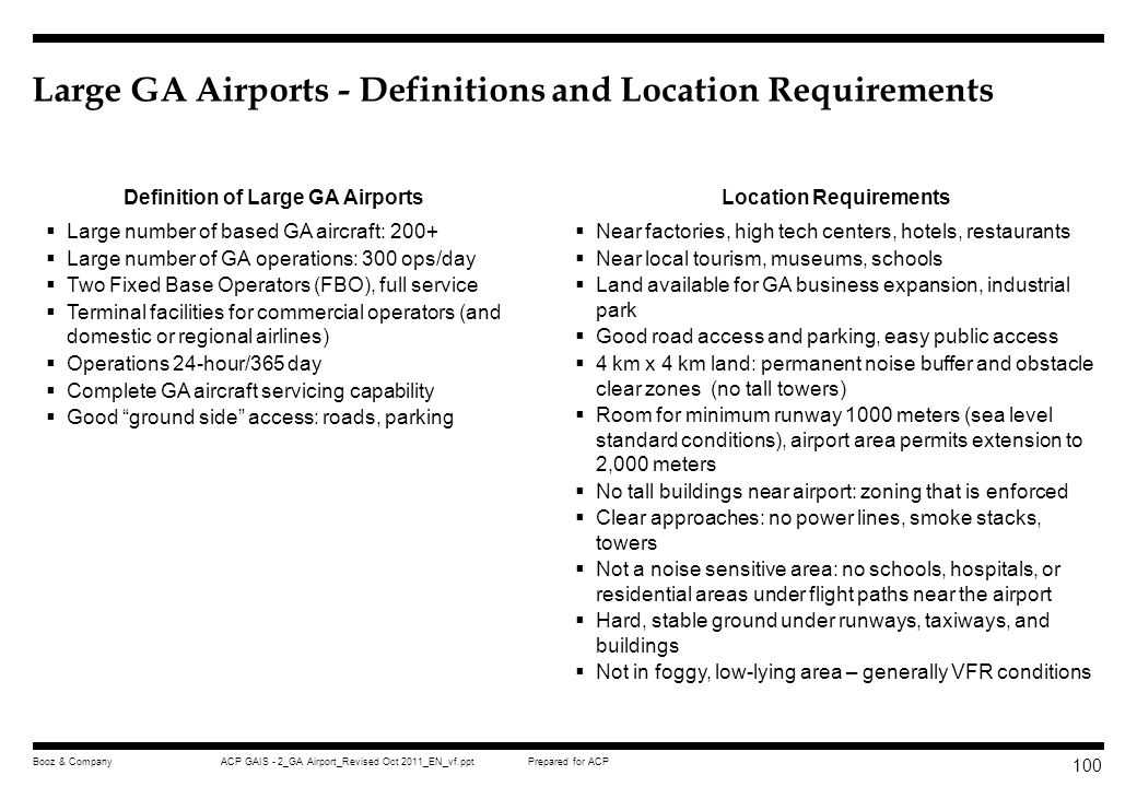 Large GA Airports - Definitions and Location Requirements