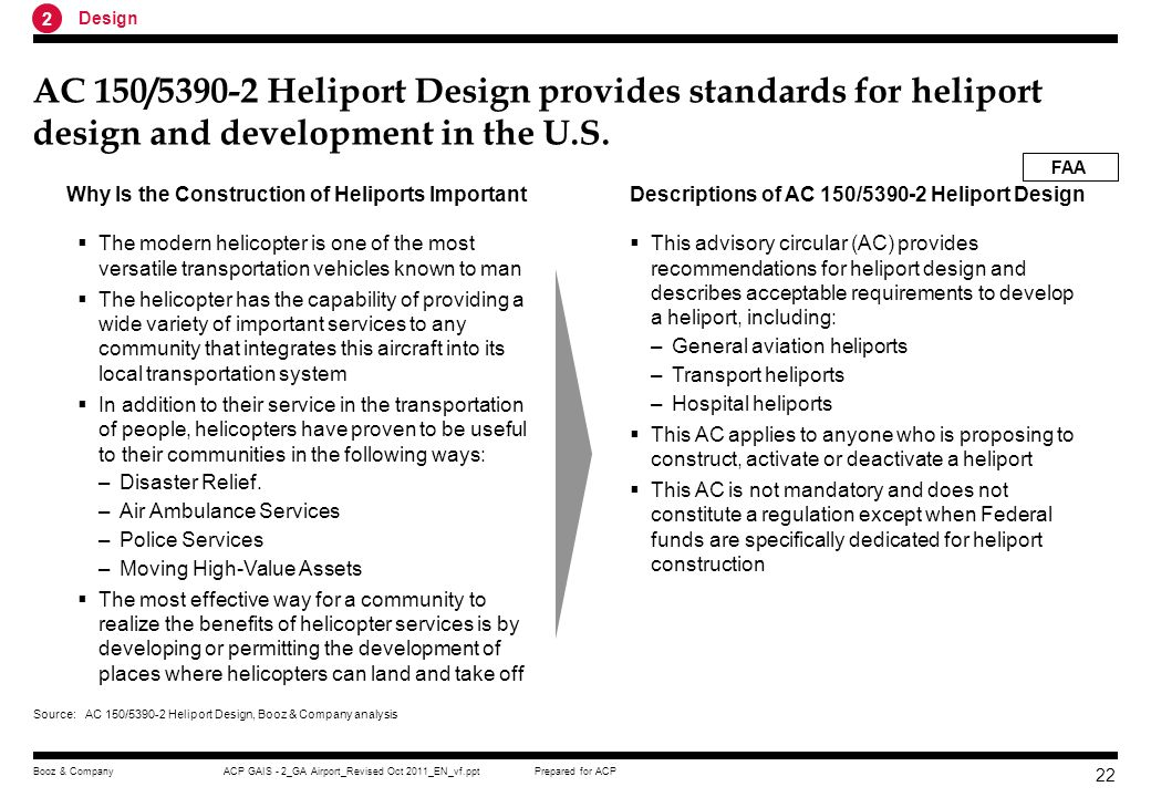 2 Design. AC 150/ Heliport Design provides standards for heliport design and development in the U.S.