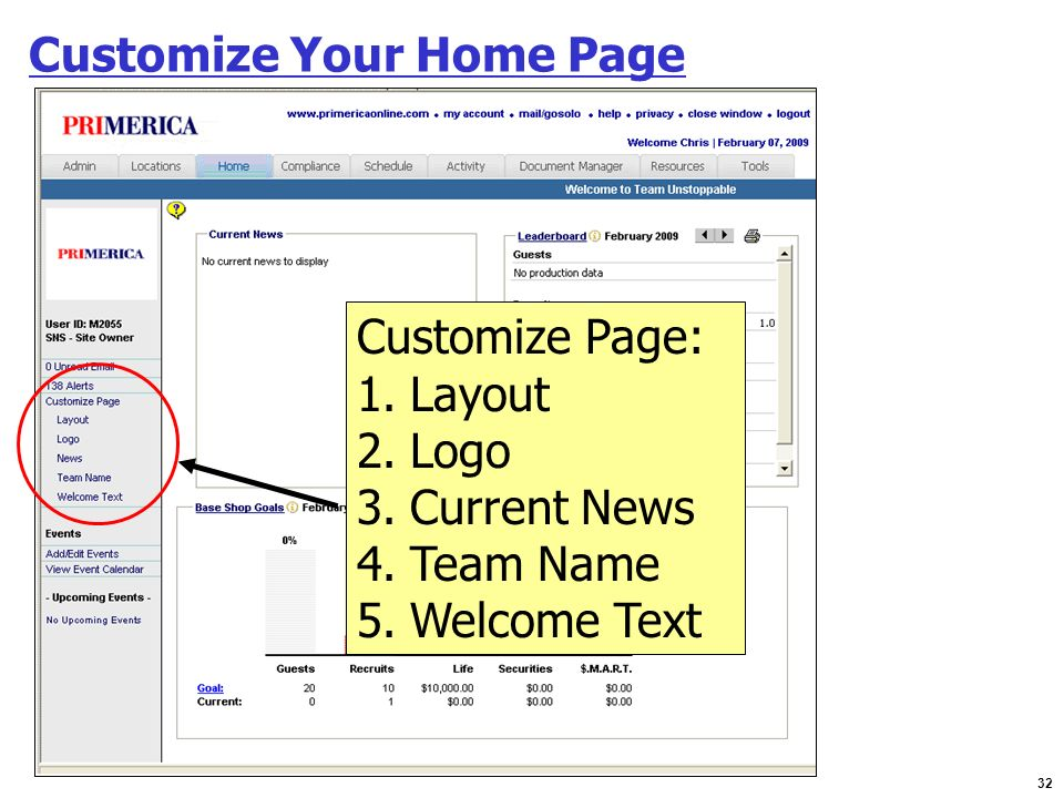 Customize Your Home Page