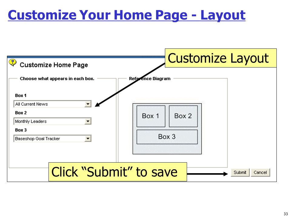 Customize Your Home Page - Layout