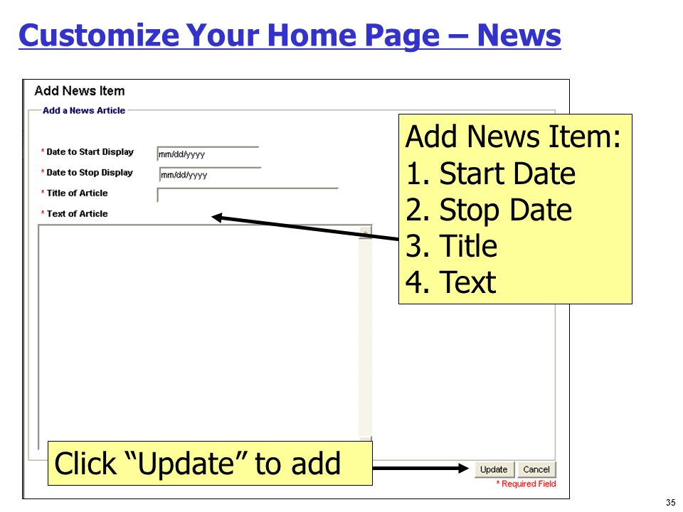 Customize Your Home Page – News