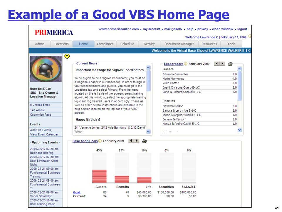Example of a Good VBS Home Page