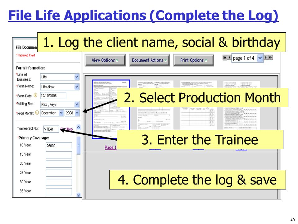 File Life Applications (Complete the Log)