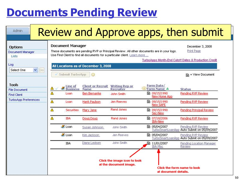 Documents Pending Review