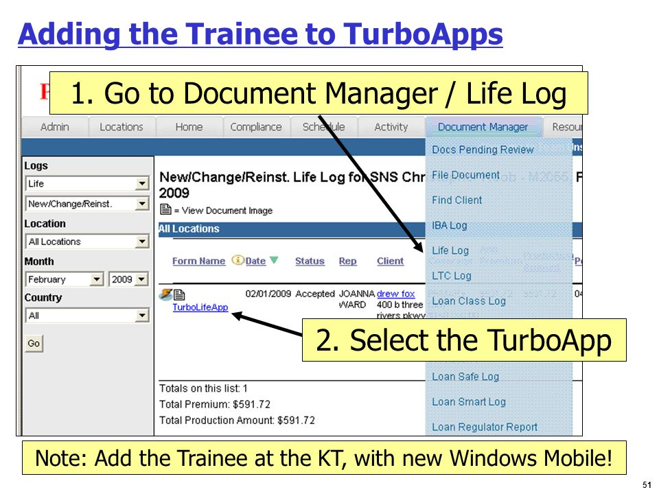Adding the Trainee to TurboApps