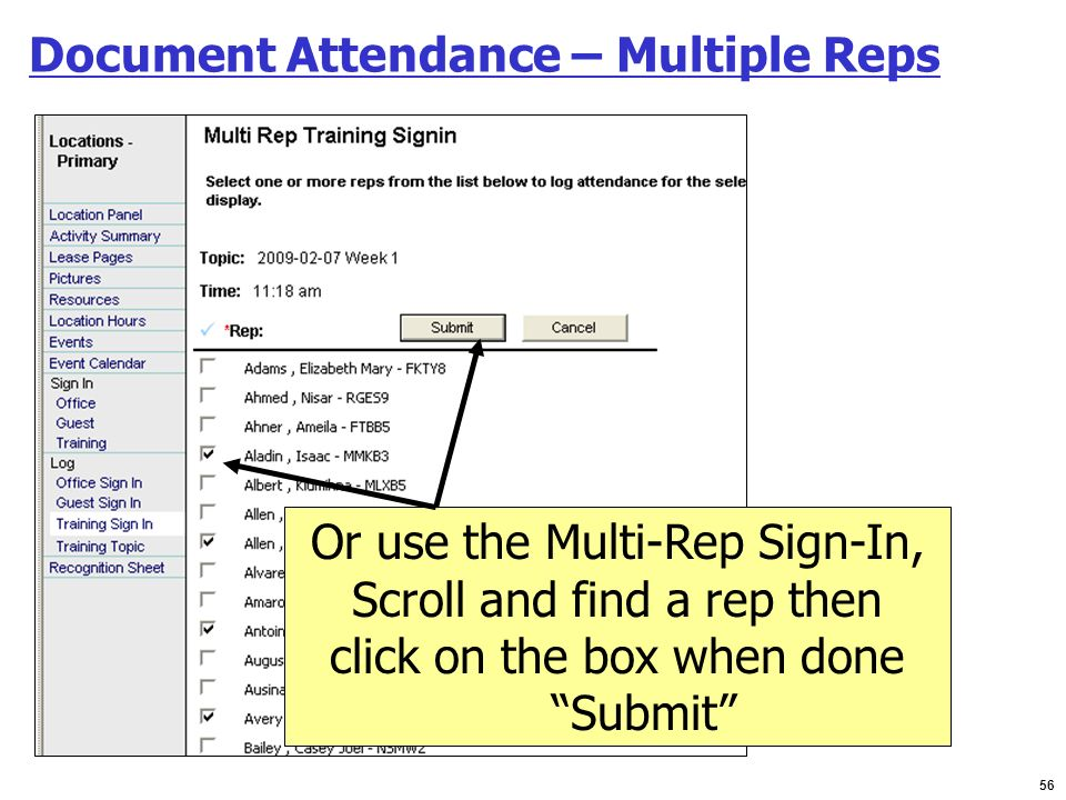 Document Attendance – Multiple Reps