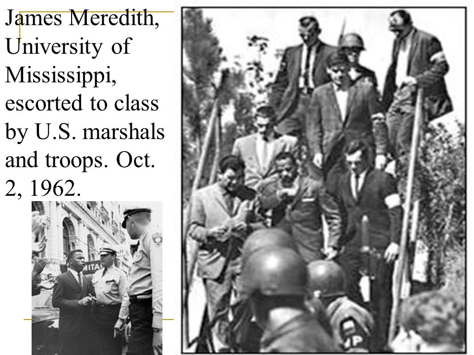 James Meredith, University of Mississippi, escorted to class by U. S