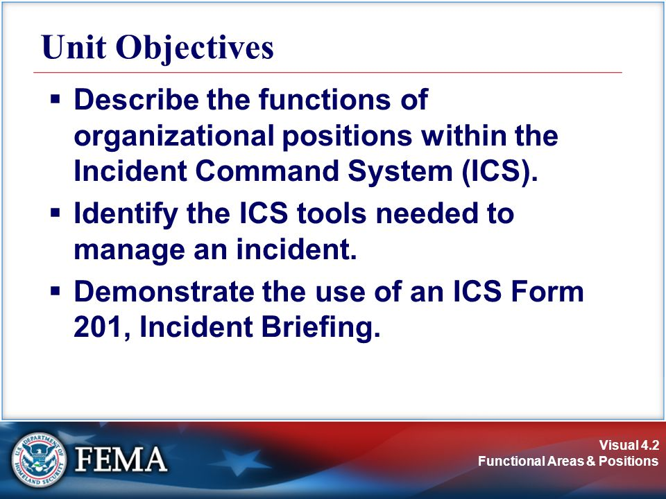 Unit Objectives Describe the functions of organizational positions within the Incident Command System (ICS).