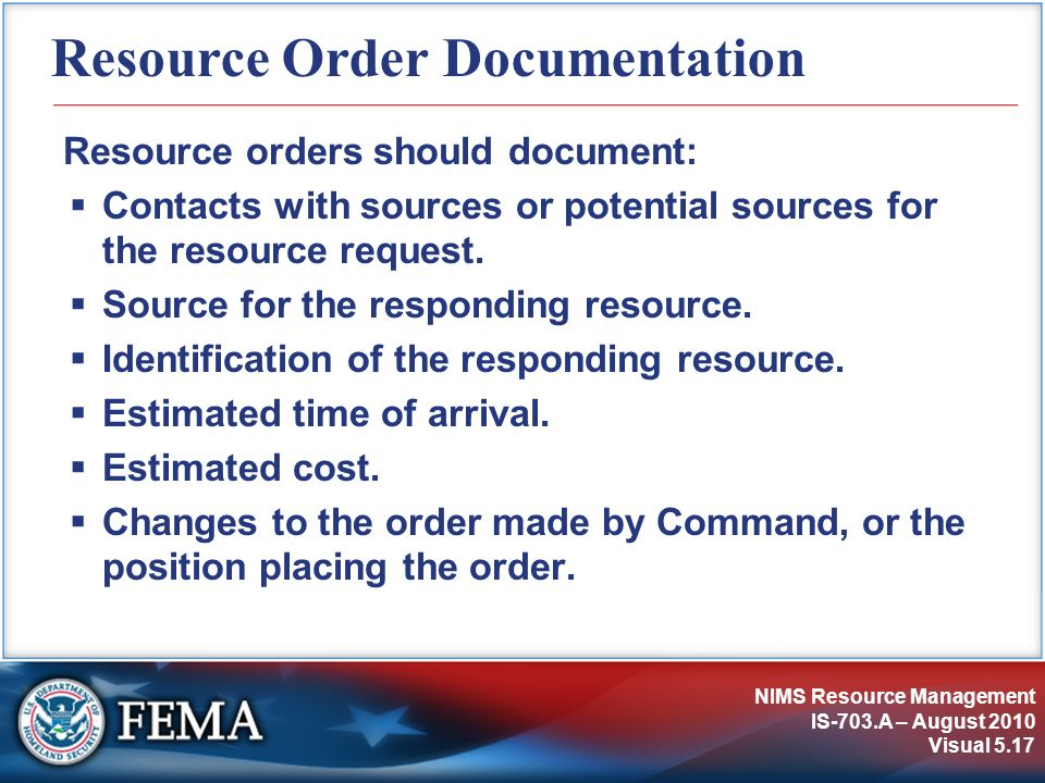 Resource Order Documentation