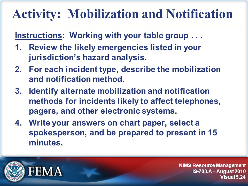 Activity: Mobilization and Notification