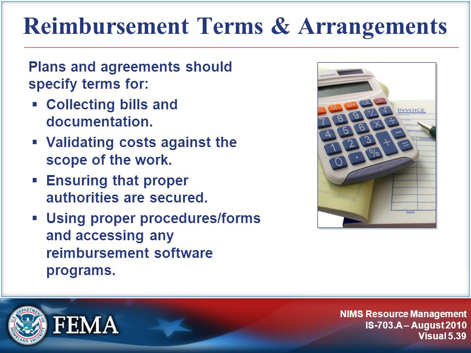 Reimbursement Terms & Arrangements