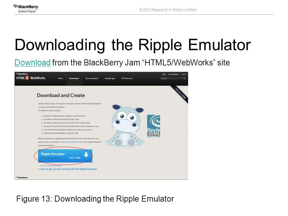 BlackBerry HTML5/WebWorks Applications for the BlackBerry® PlayBook